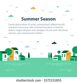 Summer season in small town, tiny village view, row of residential houses, beautiful green neighborhood, real estate development, vector flat design illustration