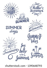 summer season themed hand lettering typography design