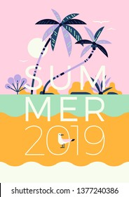 Summer Season vector concept in trendy flat style featuring beach scenery with palm trees