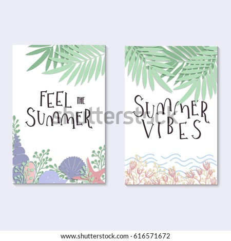 Summer seasonal greeting cards modern calligraphy stock vector summer seasonal greeting cards modern calligraphy design hand drawn vector illustration isolated on background m4hsunfo