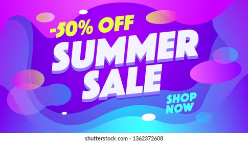 Summer sell out vector banner template. Seasonal sale, 50 percent off, discount, special offer. Shopping promotion illustration. Season wholesale, low price. Text on abstract fluid gradient background