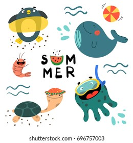 "Summer set with cute sea creatures - whale, penguin, shrimp, octopus, turtle and different water activities for kids. Vector illustration in cartoon style with inscription ""Summer""."