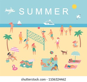 Summer set in cute style. People on the beach. Vector illustration.