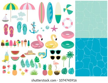 Summer set of elements and backgrounds for pool party or beach party, invitation for birthday party. Vector illustration