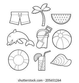 Summer set Summer equipment created in black & white, great for coloring book or simple icons.