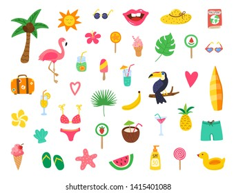 Summer set with hand drawn elements. Summer beach party design with doodle flamingo, flowers, tropical fruit, sweets. Color collection for cards, posters, invitation, stickers. Vector illustration.