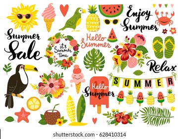 Summer set, hand drawn elements- calligraphy, flowers, tropical leaf, birds, wreaths, and other. Perfect for web, card, poster, cover, tag, invitation, sticker kit. Vector illustration