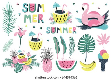 Summer set with hand drawn elements - flamingo, calligraphy, flowers, tropical leaves, fruits and other. Perfect for web, card, poster, cover, tag, invitation, sticker kit. Vector illustration
