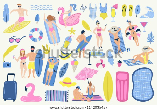 bad6fa894f26b Summer set with hand drawn elements. Young men and women. People swimming,  relax