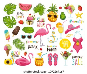 Summer set with hand drawn travel elements. Ice cream, watermelon, leaves, hat, sandals, pineapple, flamingo, calligraphy and other. Vector illustration