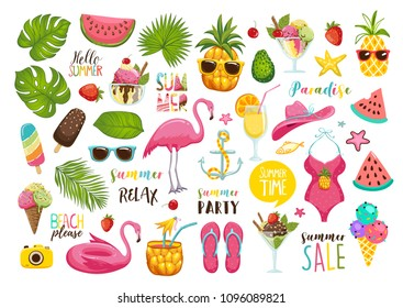 Summer set with hand drawn travel elements. Ice cream, watermelon, leaves, hat, sandals, pineapple, bag, calligraphy and other. Vector illustration