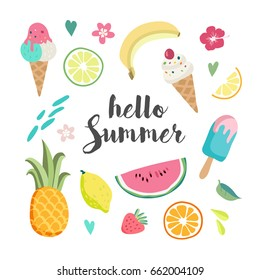 Summer set with hand drawn tropical elements , lettering, watermelon, banana, lemon, pineapple, ice cream, orange and strawberry
