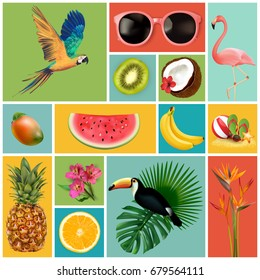 Summer set with holiday Elements. Flamingo, watermelon, pineapple, palm, tropic, sun. Typographic design. Vector illustration.