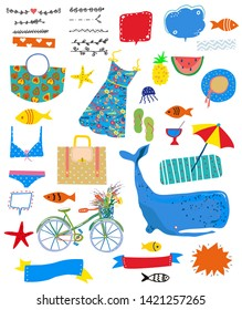 Summer set of icons with sea and travel theme. Vector graphic illustration