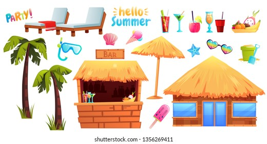 Summer set of objects and furniture. Tiki bar with alcohol and wooden bungalow. Hotel lounge chairs next to palm trees and cocktails and fruits. Vector cartoon illustration