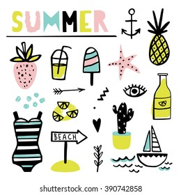 Summer set with pineapple, juice, cactus, star and other cute elements.