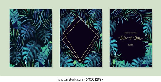 Summer set with tropical leaves on black background. Jungle design for posters, wedding cards, banners, invitations. Vector illustration