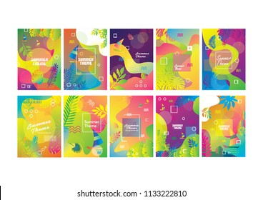 summer set wallpaper, banner, backgroud, flyer and cover,Unique artistic summer cards with bright gradient background,shapes and geometric elements in memphis style. Abstract design cards