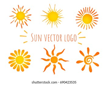 Summer set of warm hand drawn watercolor sun icons. Vector illustration isolated on white background.