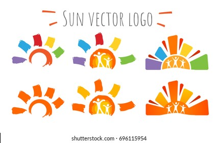 Summer set of warm hand drawn multicolor sun icons. Vector illustration isolated on white background.