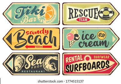 Summer signs vintage collection. Tiki bar, beach, sea food, ice cream, surfing signboards set. Vector illustration.