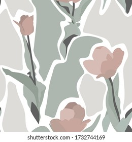 Summer Silhouette Abstract seamless pattern with leaves and  tulip flowers. Background with florals vector on modern style.