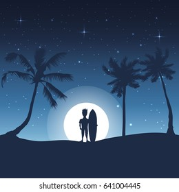 Summer silhouette avatarocean moon light