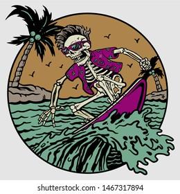 summer skeleton on surfing board in beach