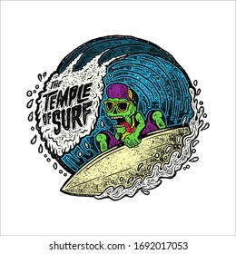 summer skeleton on surfing board in beach. tee shirt design