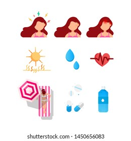 Summer skin protection icons of girl with a headache, stress and acne. Sun and exposure to sunlight. Heart problems and a bottle of water. Tablets for nausea and sunstroke