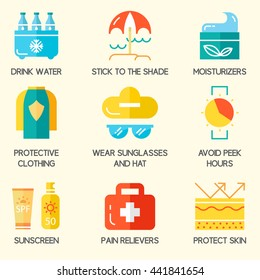 Summer skin protection icons. Sun and beach safety set. For web, infograhics, print. Cancer skin protection.