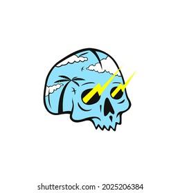 Summer skull beach with thunderstruck design illustration.