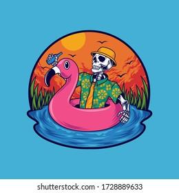 Summer skull swimming vector illustration