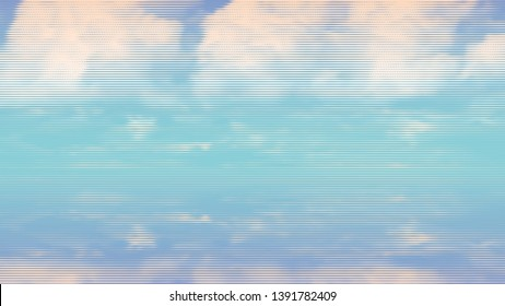 Summer sky over the water surface. Calming seascape. engraving style. design element. vector illustration