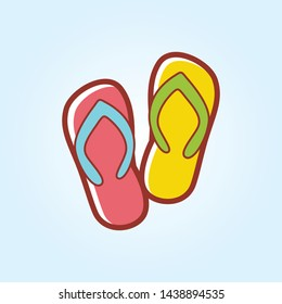 summer Slippers icon in flat style isolated. Vector Symbol illustration.
