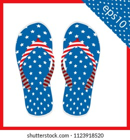 summer slippers with USA flag design. the vector illustration eps 10