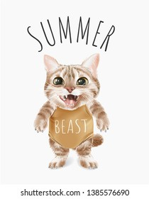 summer slogan with cute cat in swimsuit illustration