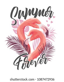 summer slogan with flamingo illustration