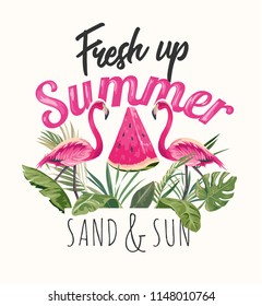 summer slogan with flamingos and watermelon illustration