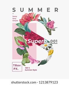 summer slogan with flower S letter illustration
