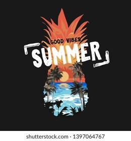 summer slogan on beach sunset in pineapple shape illustration