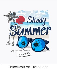 summer slogan with palm beach and sunglasses illustration