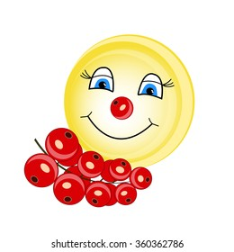 Summer smiley with currant. Smiley with a nose of currant