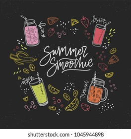 Summer Smoothie handwritten inscription surrounded by refreshing healthy drinks or fresh tasty beverages and outlines of tropical fruits, berries, vegetables. Colorful hand drawn vector illustration.