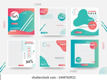 Summer Social Media Banner Template Collection with Unique Color