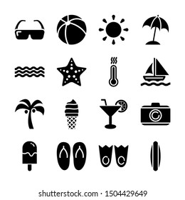 summer solid icons vector design