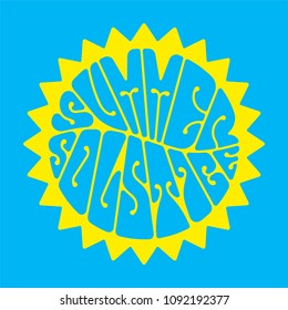 Summer solstice - handwritten lettering quote symbolizing the longest period of daylight and the shortest night of the year. Vector illustration.