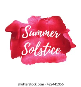 Summer Solstice Holiday, lettering, words, text written on red painted background vector illustration