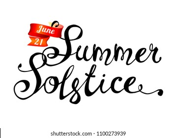 Summer solstice. June 21. Hand written doodle vector words on white background