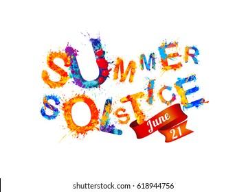 Summer solstice. June 21. Vector watercolor splash paint